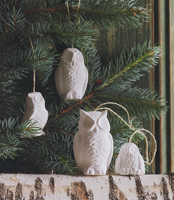 White Porcelain Snowy Owl Christmas Tree Ornaments Set Of