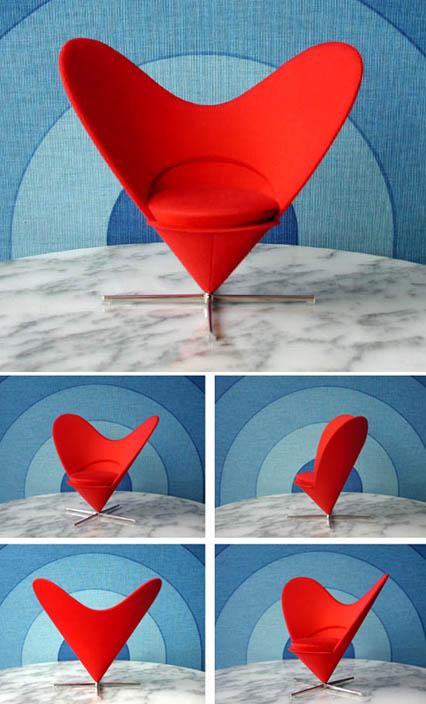 Vitra Miniature  Verner Panton Heart Chair Red  Nova68 Com