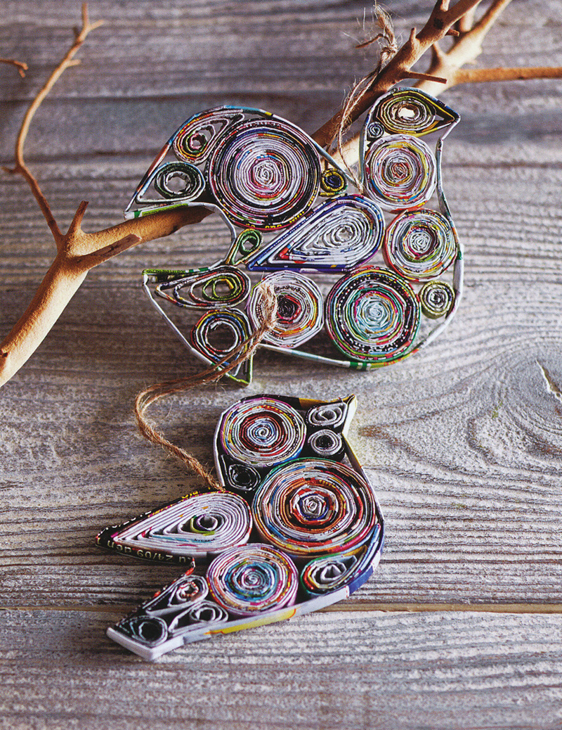 Repurposed Paper Peace Dove Tree Ornaments Set Of 6