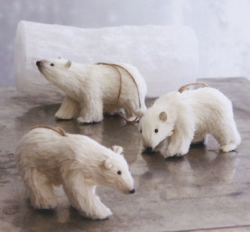 decorative polar ice bears christmas ornaments set of 3 - Polar Bear Christmas Decorations