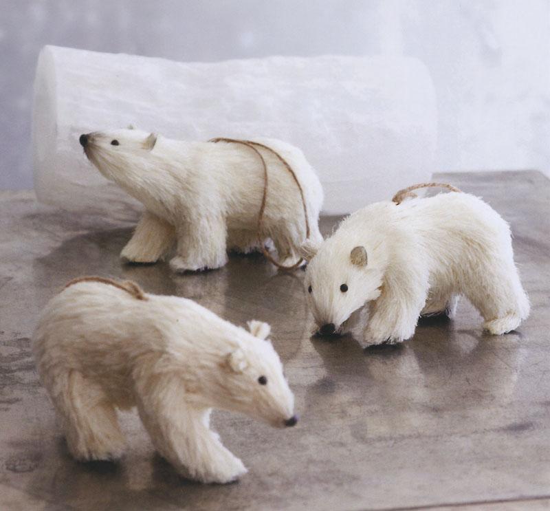 Decorative Polar Ice Bears Christmas Ornaments Set Of 3