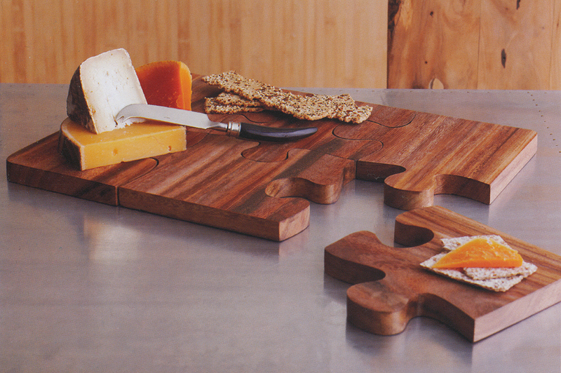 Wooden Puzzle Board Cheese Serving Tray NOVA68com