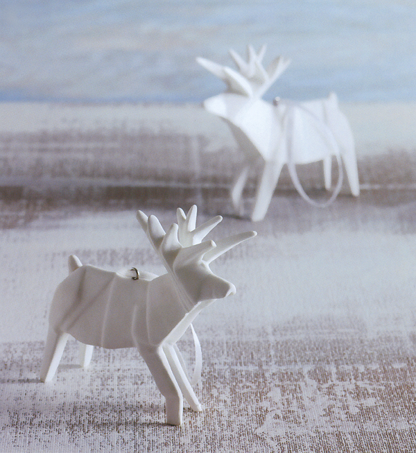 How To Origami Reindeer Porcelain Tree Ornaments Set Of 2