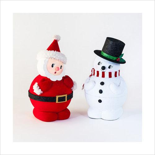 Retro Christmas Decorations 1950s Santa With Snowman