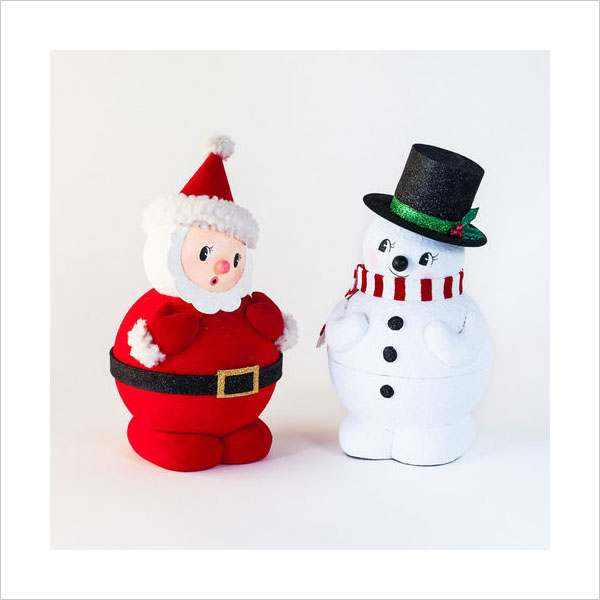 retro christmas decorations 1950s santa with snowman figures click to view additional images