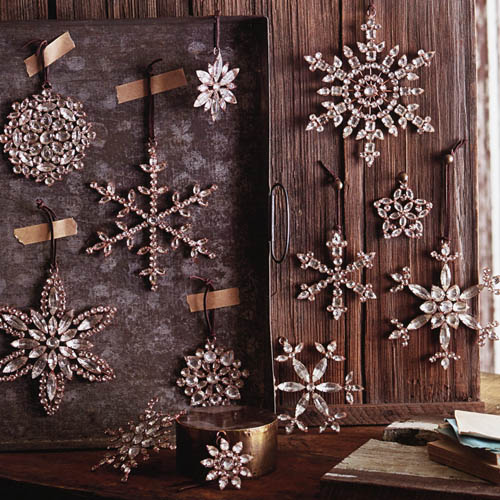 Victorian Rhinestone Snowflake Tree Ornaments Set 4