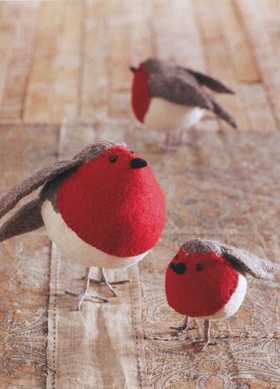 American Robin Birds Felt Ornaments Holiday Decor Set of 3: NOVA68.com