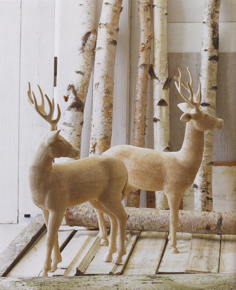 Sculptural Wooden Deer Sculpture: Young Standing Fallow Buck | NOVA68 Modern Design
