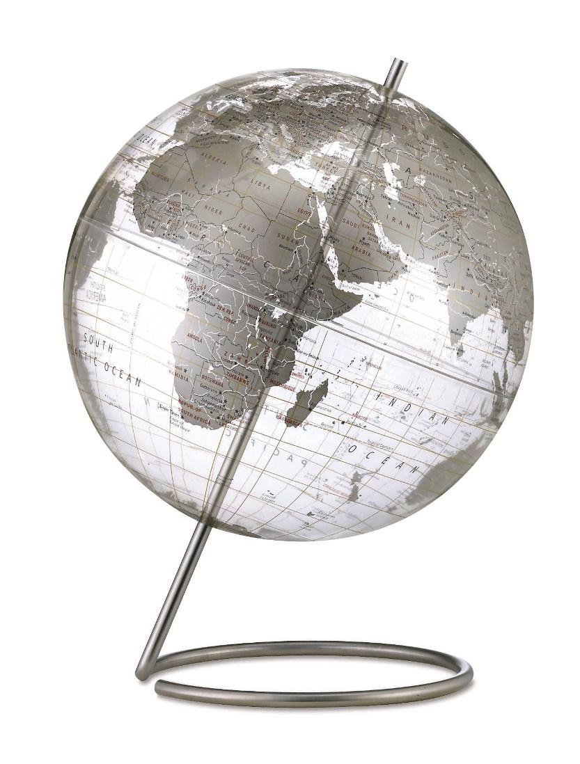Mid Century Modern Style Transparent Silver World Globe 12 NOVA68 Design