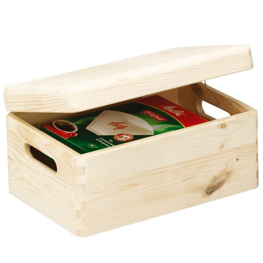 Small Wood Storage Box With Lid For Storing Items