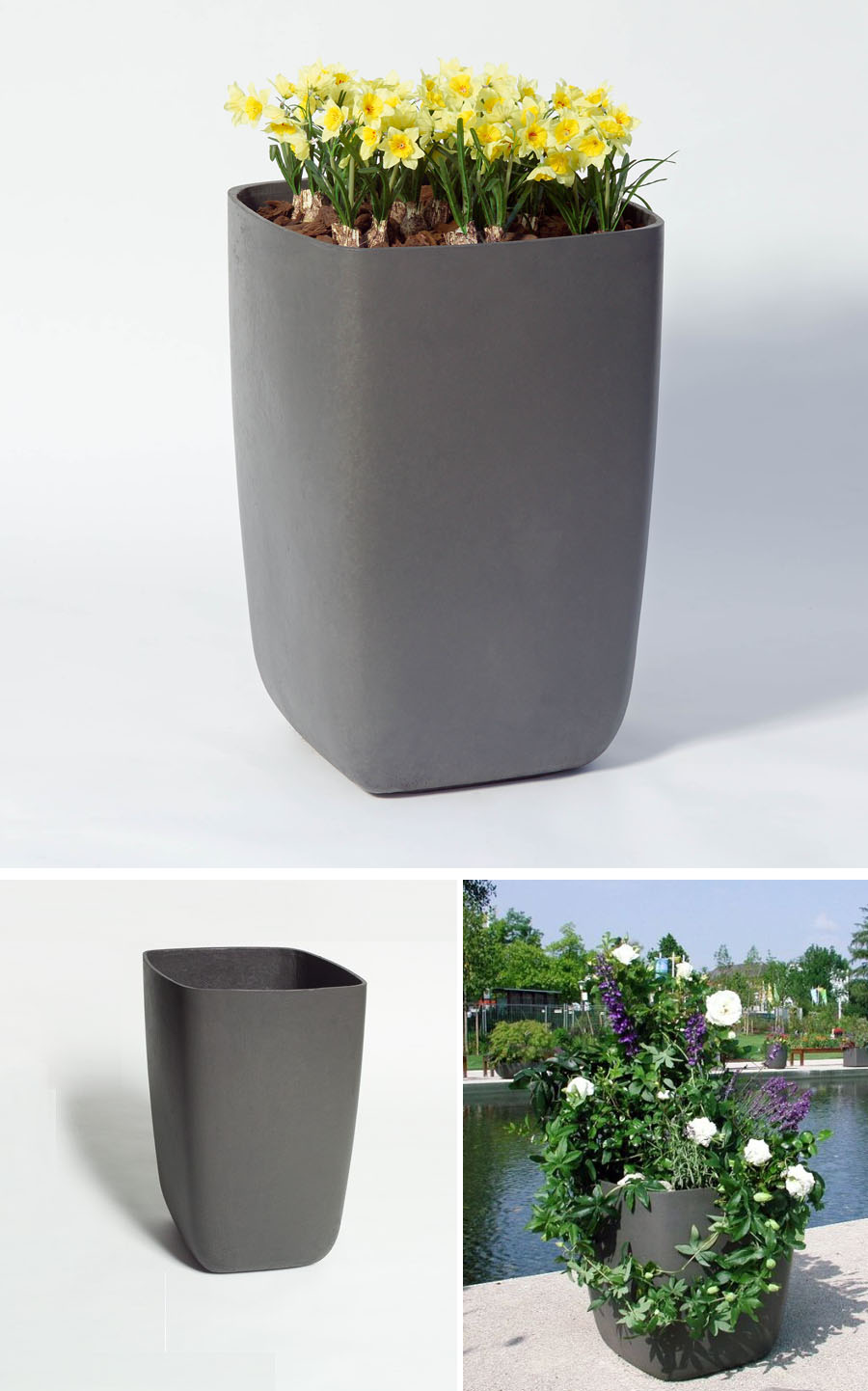 Samurai Tall Outdoor Planter Pot With Rounded Corners