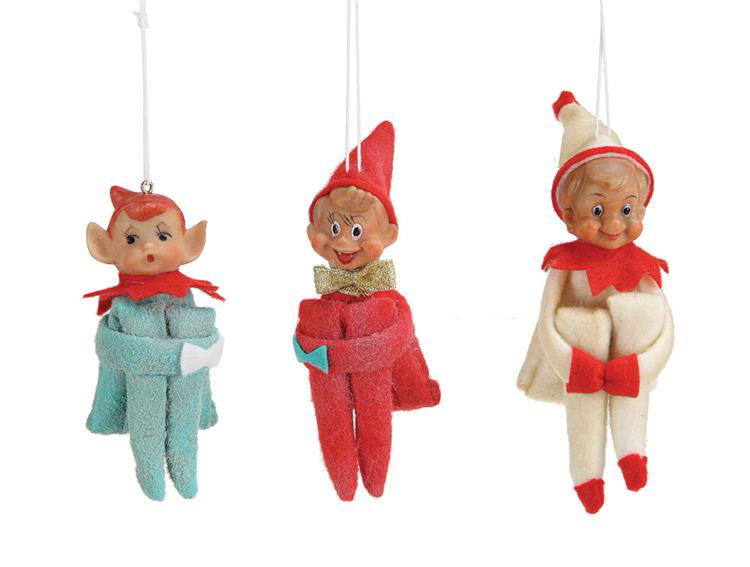 elf knee hugger christmas tree ornaments set6 click to view additional images