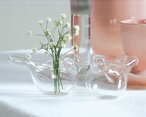 Glass wedding dove vases table decoration ideas - Glass vases for wedding table decorations ...