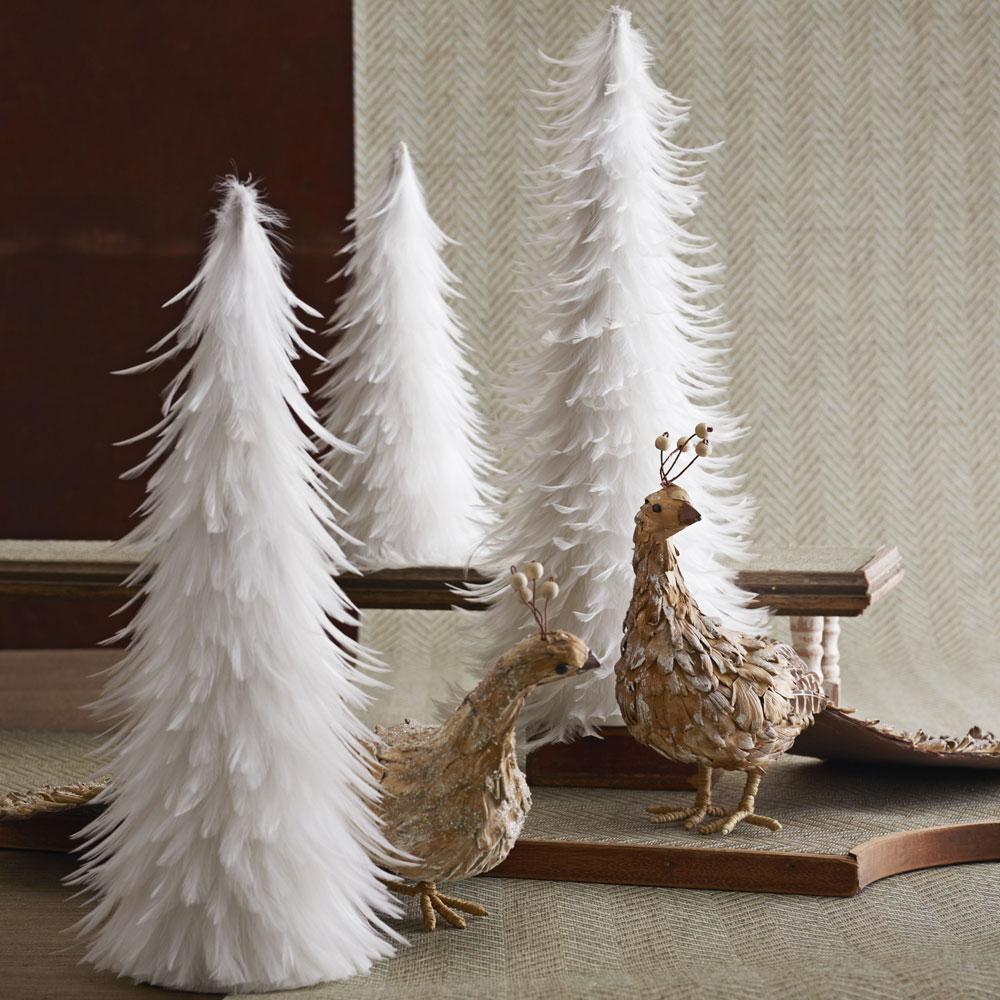Beautiful White Feather Christmas Trees Set of 3 | NOVA68.com