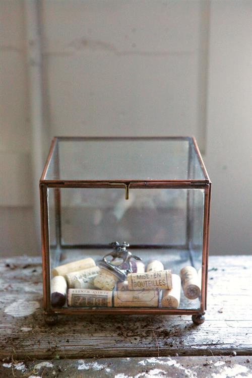 Mise En Bouteilles Copper Glass Wine Cork Display Box